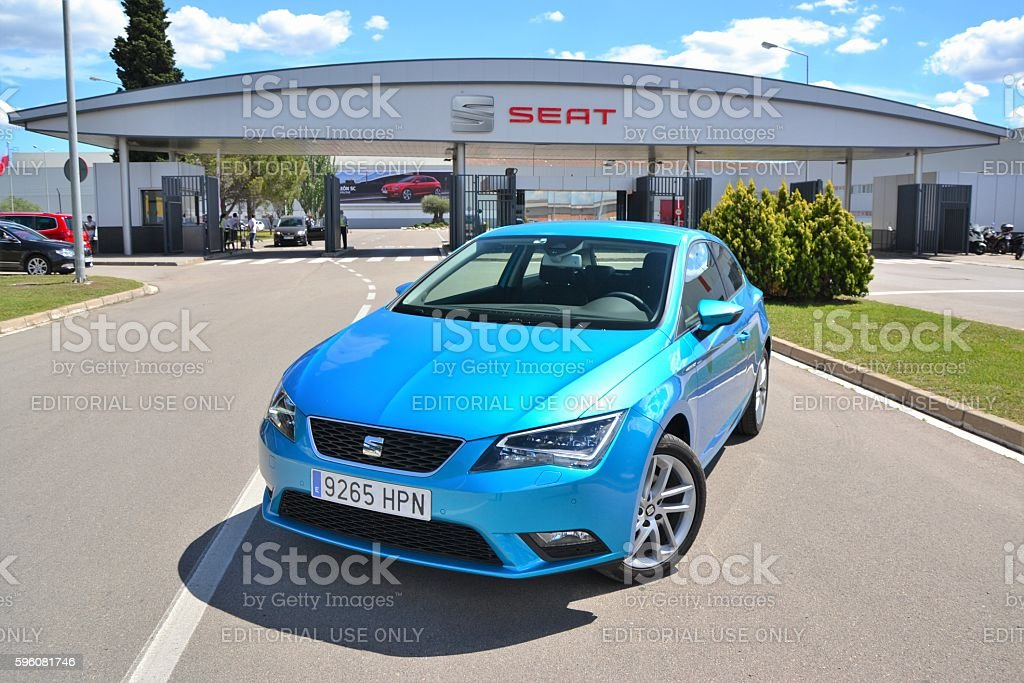 Seat Leon stopped in front of the Seat factory stock photo