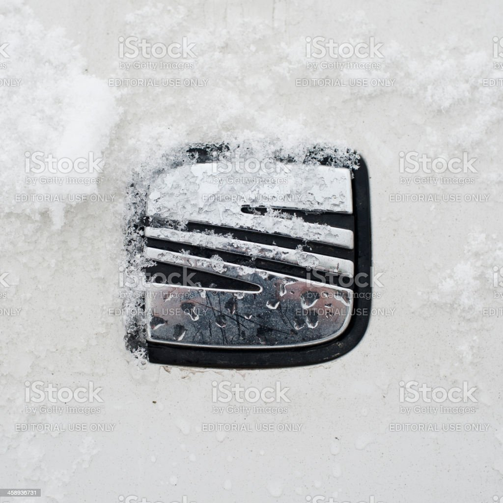 Seat logo with some snow. royalty-free stock photo