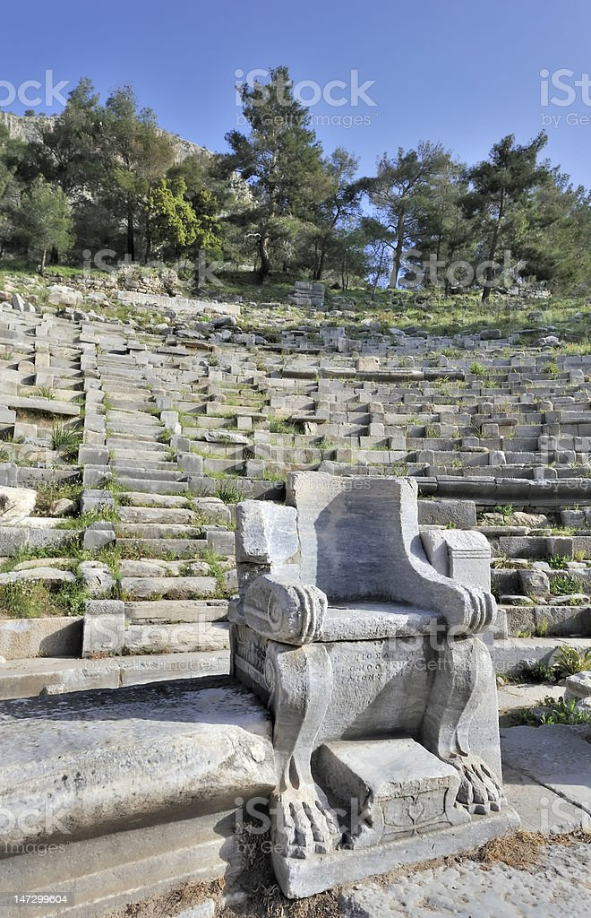Seat of honour in greek amphitheater royalty-free stock photo