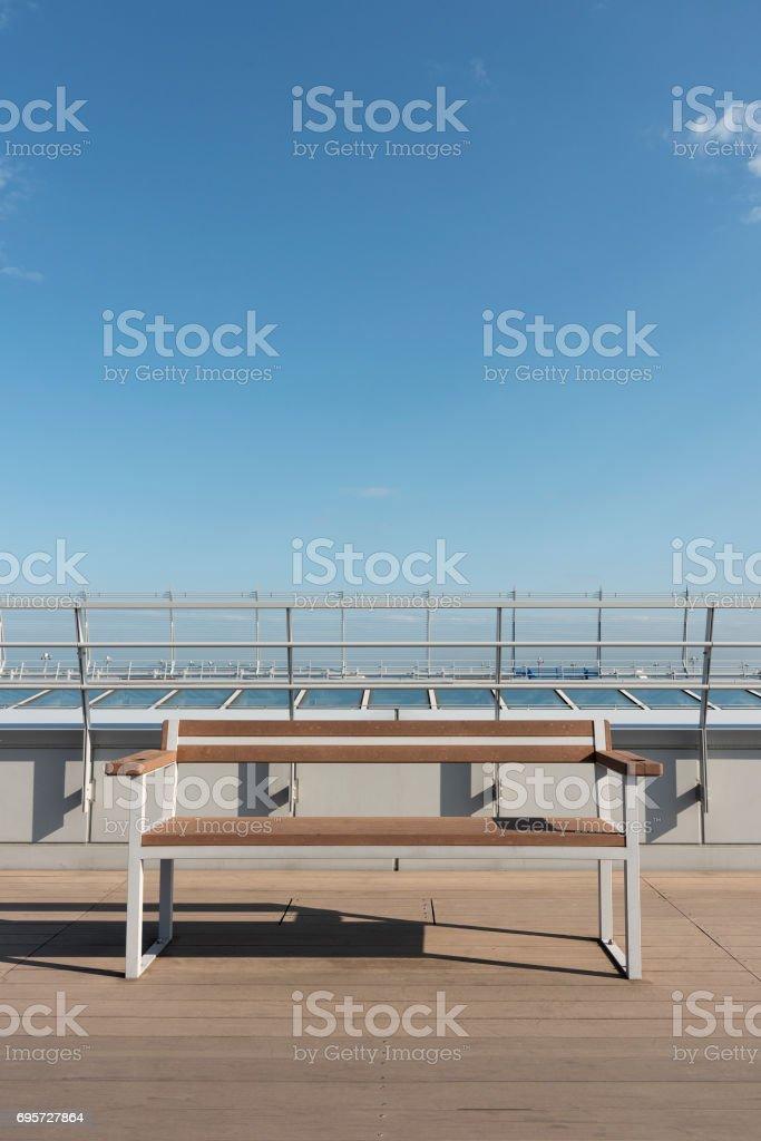 seat on deck stock photo