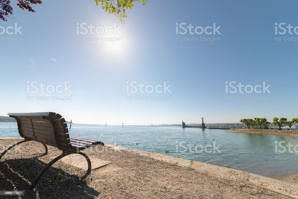 Seat promenade Konstanz, Germany - near switzerland stock photo