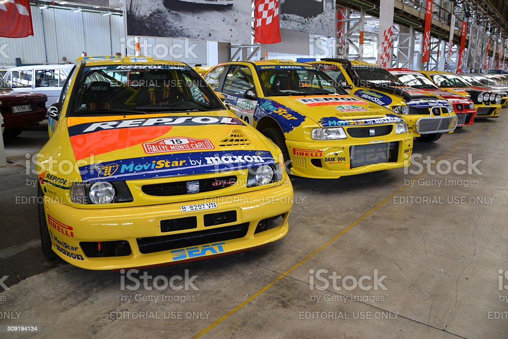 Seat rally cars in a row stock photo