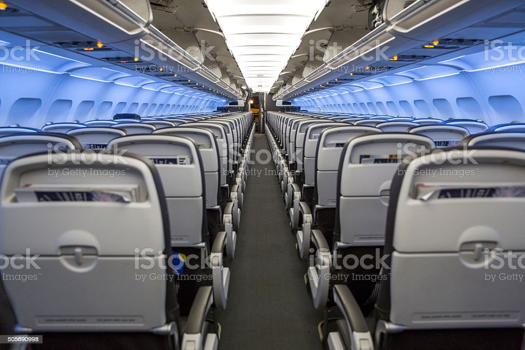 Seat Rows inside an Airplane stock photo