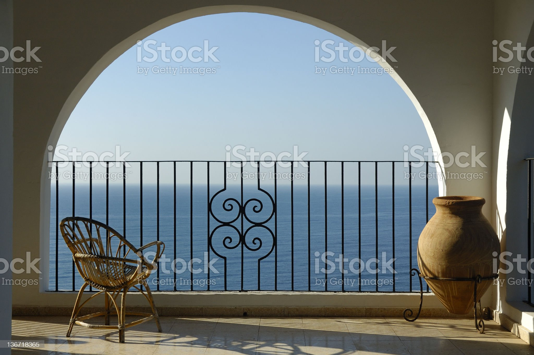 Seat with seaview and urn royalty-free stock photo