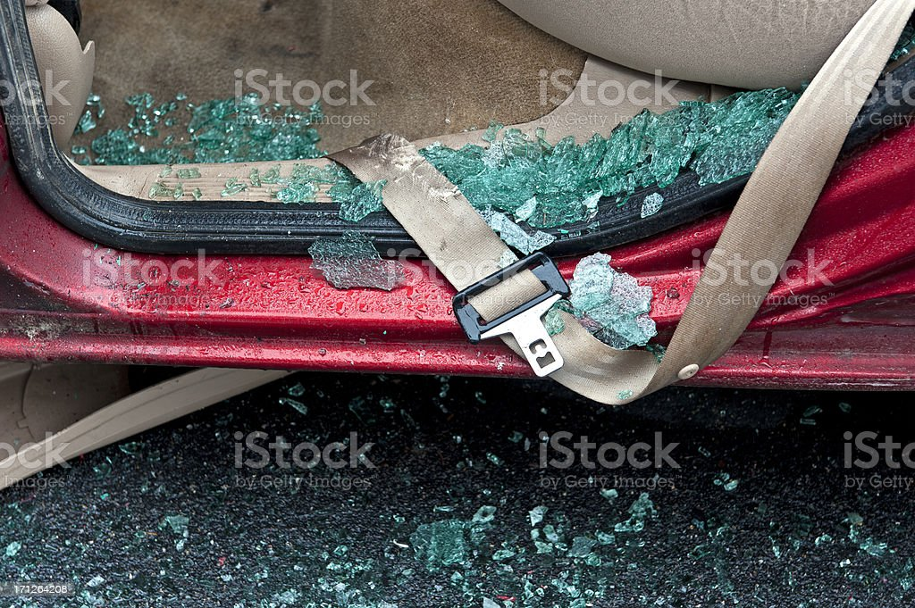 Seatbelt in the Rain stock photo