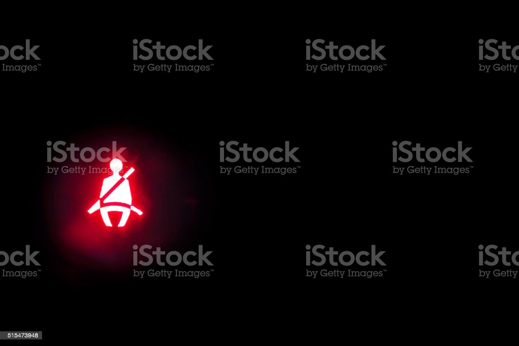 Seatbelt light showing on the black background stock photo