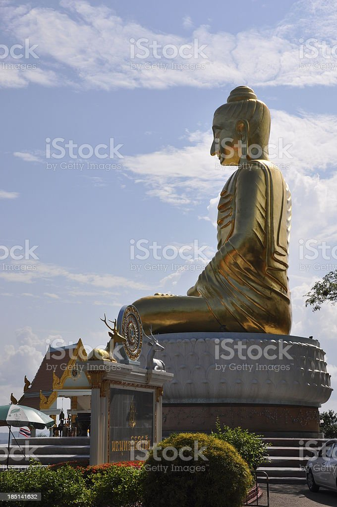 Seated Buddha image in Buddhist temple royalty-free stock photo
