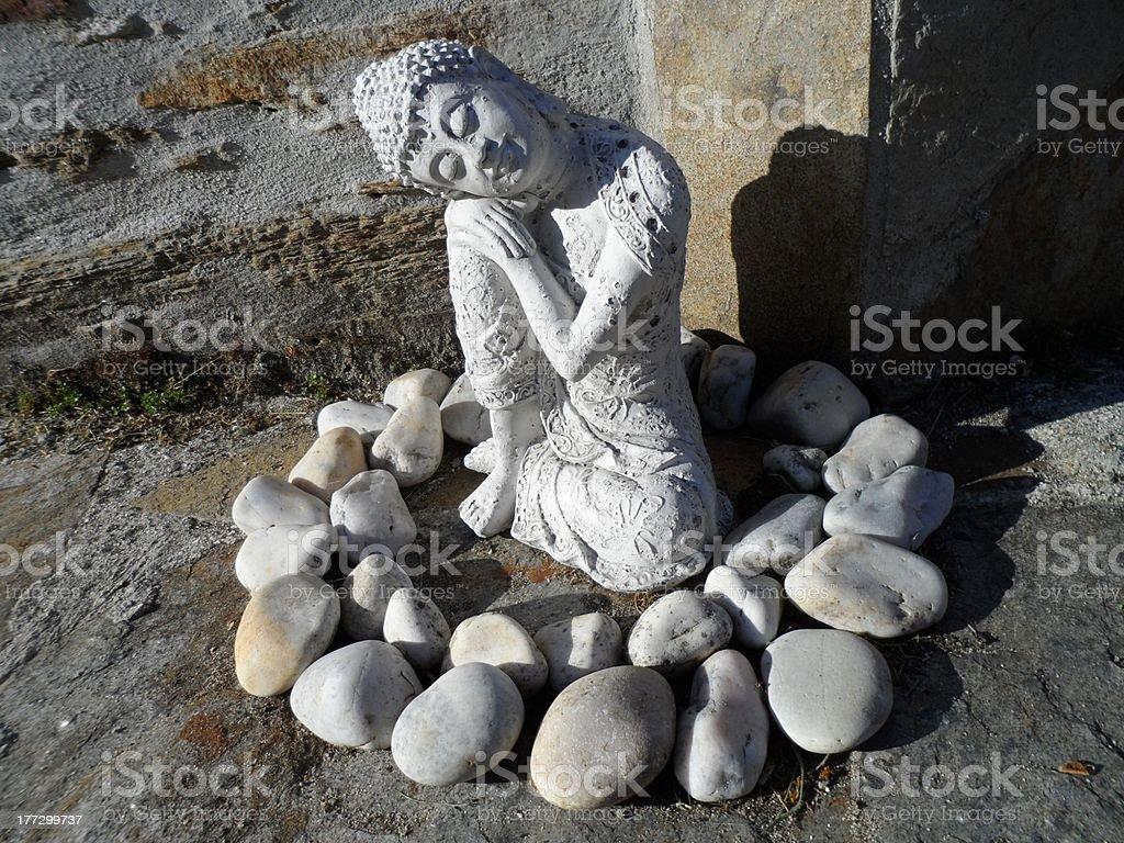 Seated Buddha relaxing stock photo