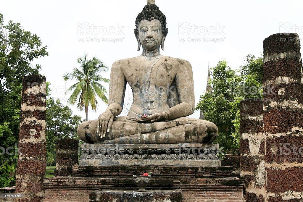 seated buddha sukothai thailand stock photo