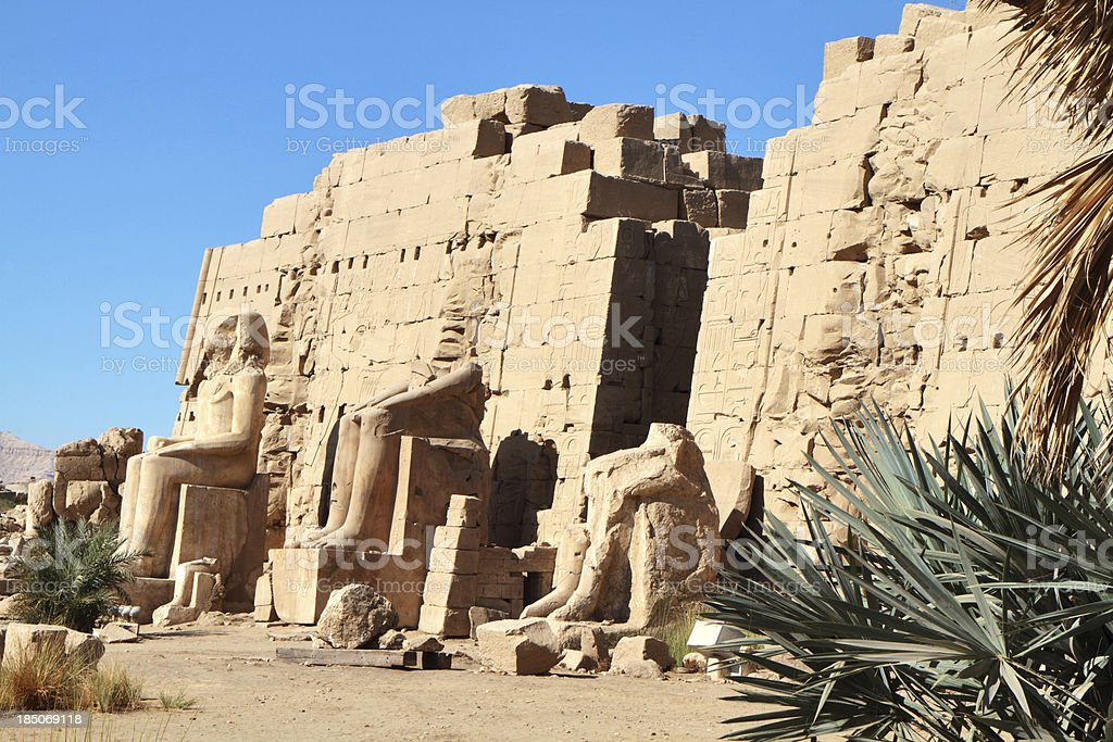Seated Colossi, Great Temple of Amun, Karnak, Luxor, Egypt royalty-free stock photo