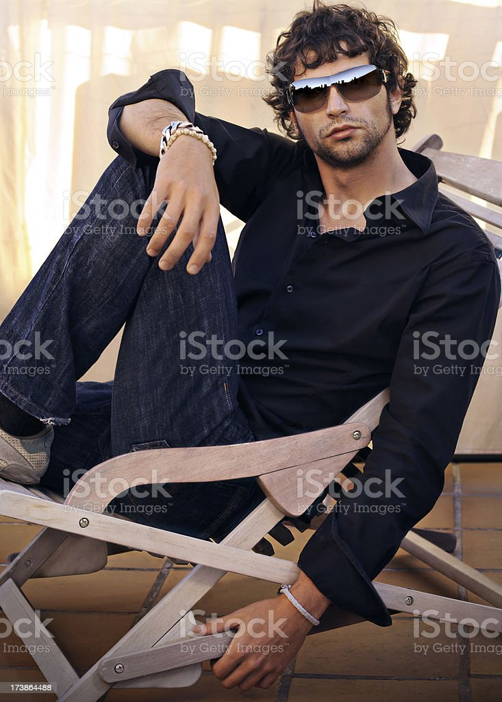 Seated top model stock photo