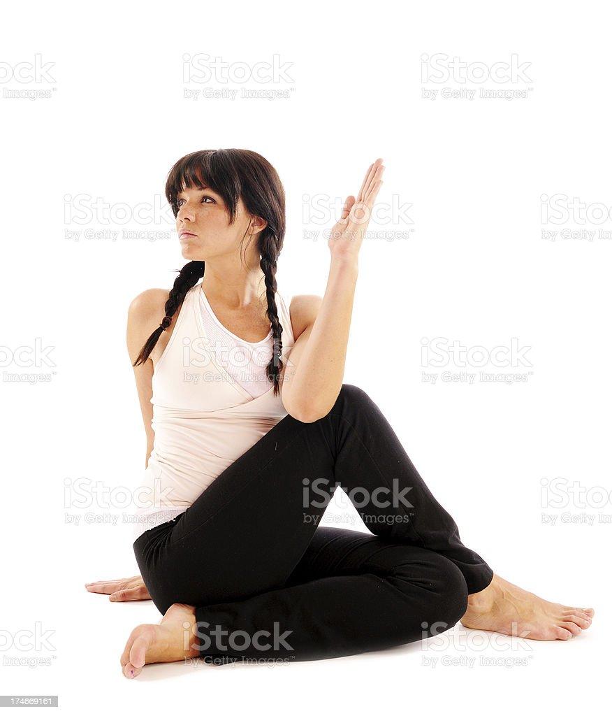Seated Yoga Twist royalty-free stock photo