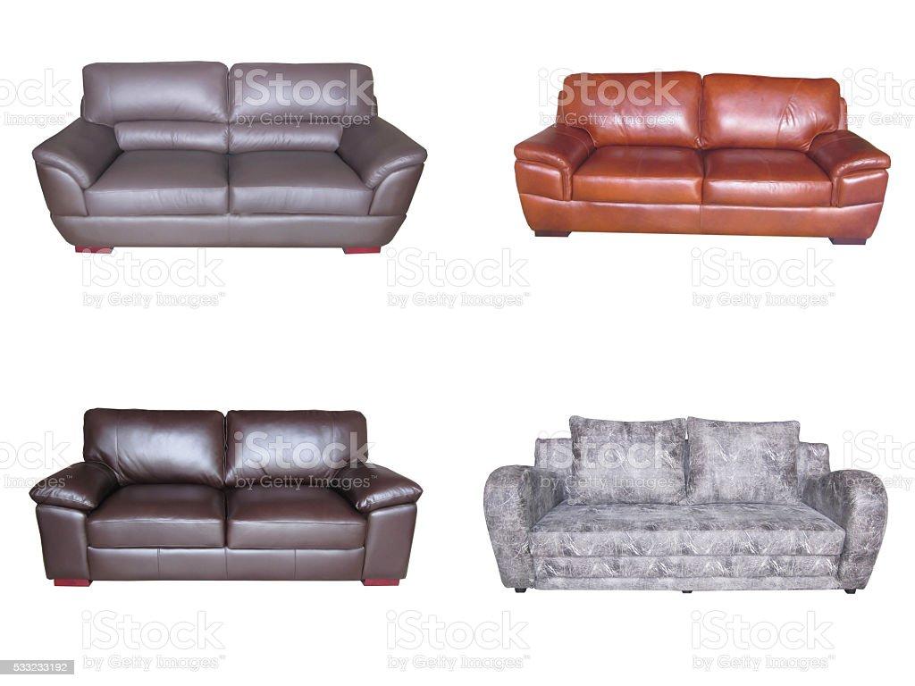 2 Seater Leather Sofa, Leather Sofa for Interior stock photo
