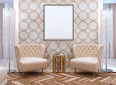 Seating area in living room in style of art Deco.