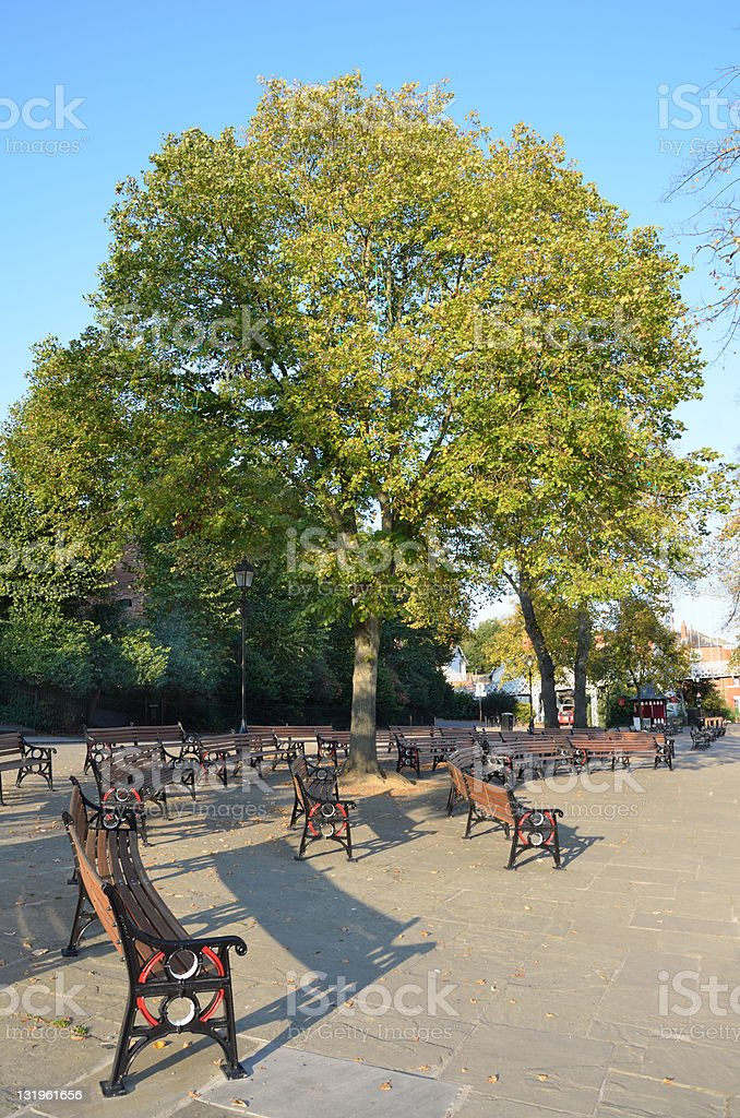 Seating by River Dee in Chester royalty-free stock photo
