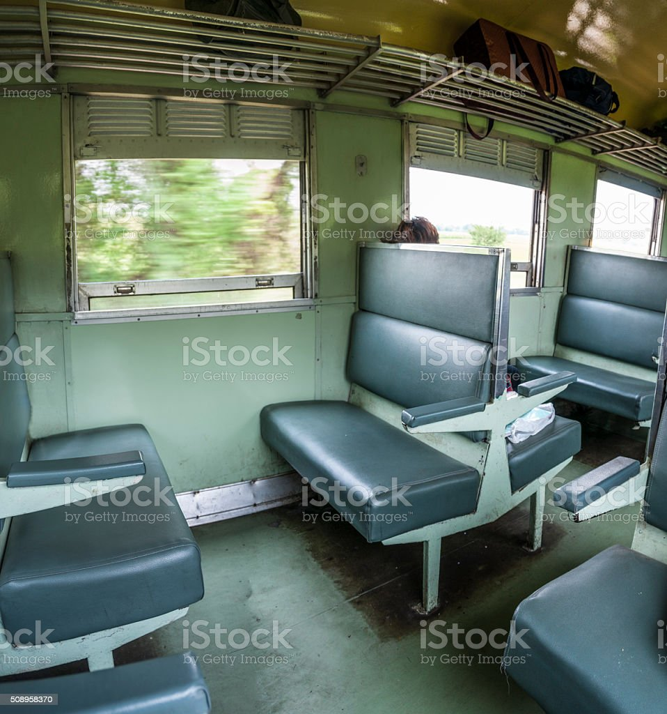 Seating Inside A Train Carriage In Thailand stock photo