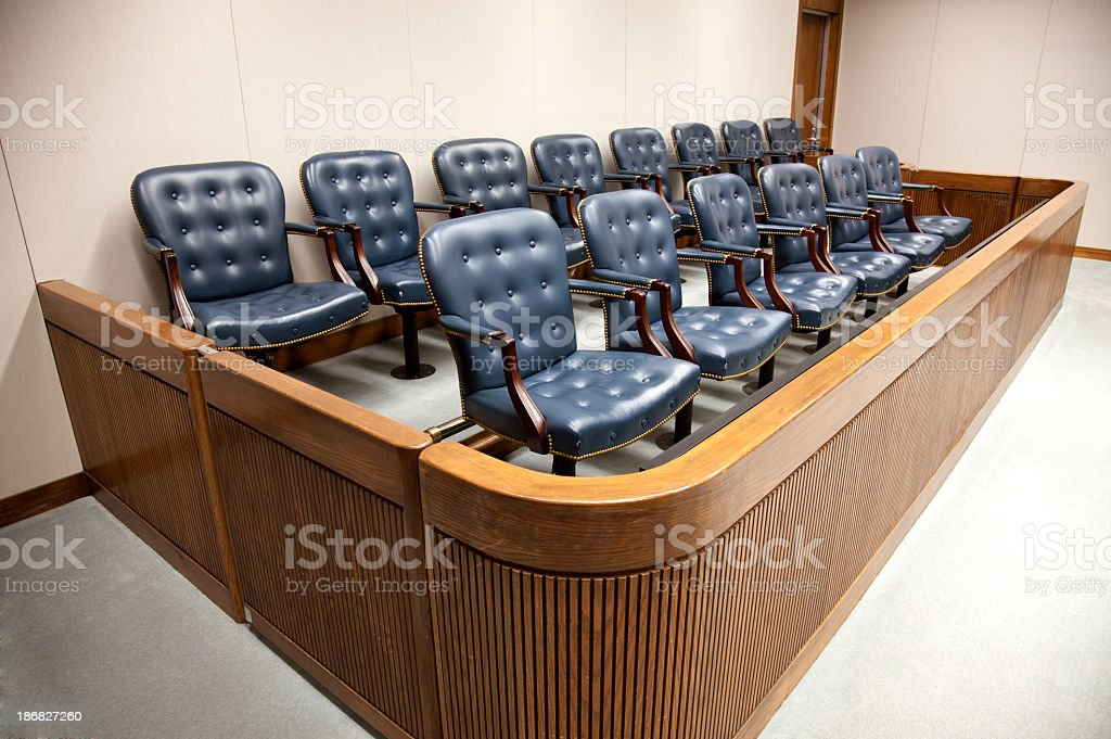 Seats at courtroom jury designed box stock photo