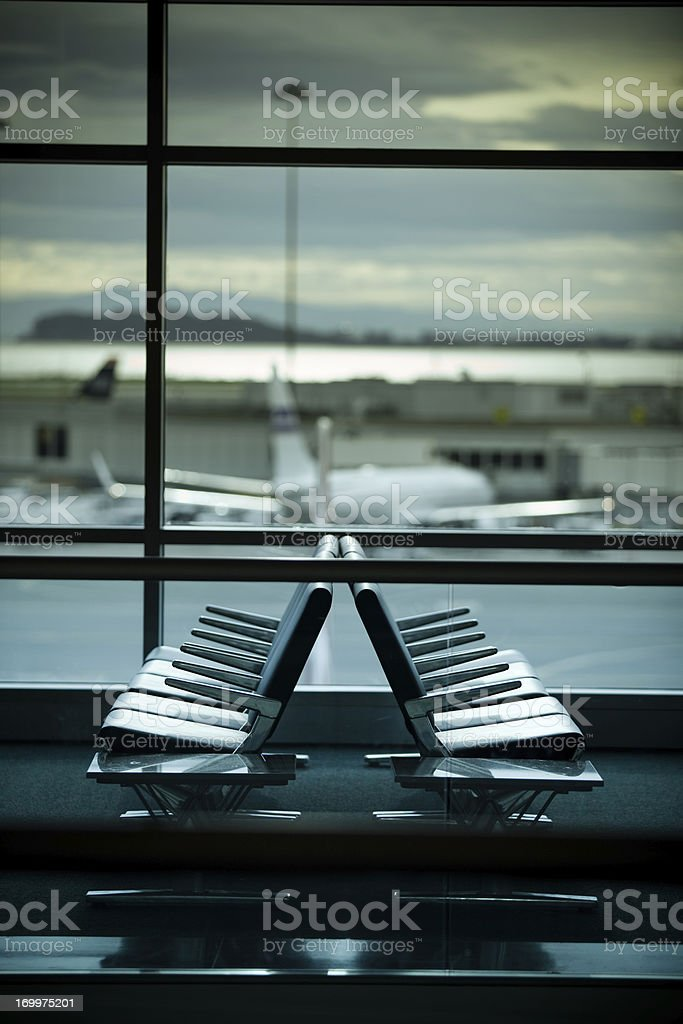 Seats at SFO with Jet stock photo
