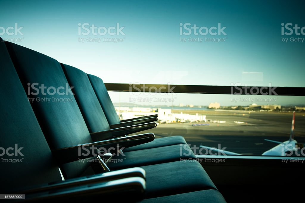 Seats at the Airport stock photo