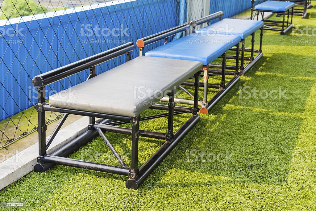 Seats for substitutes in futsal pitch stock photo