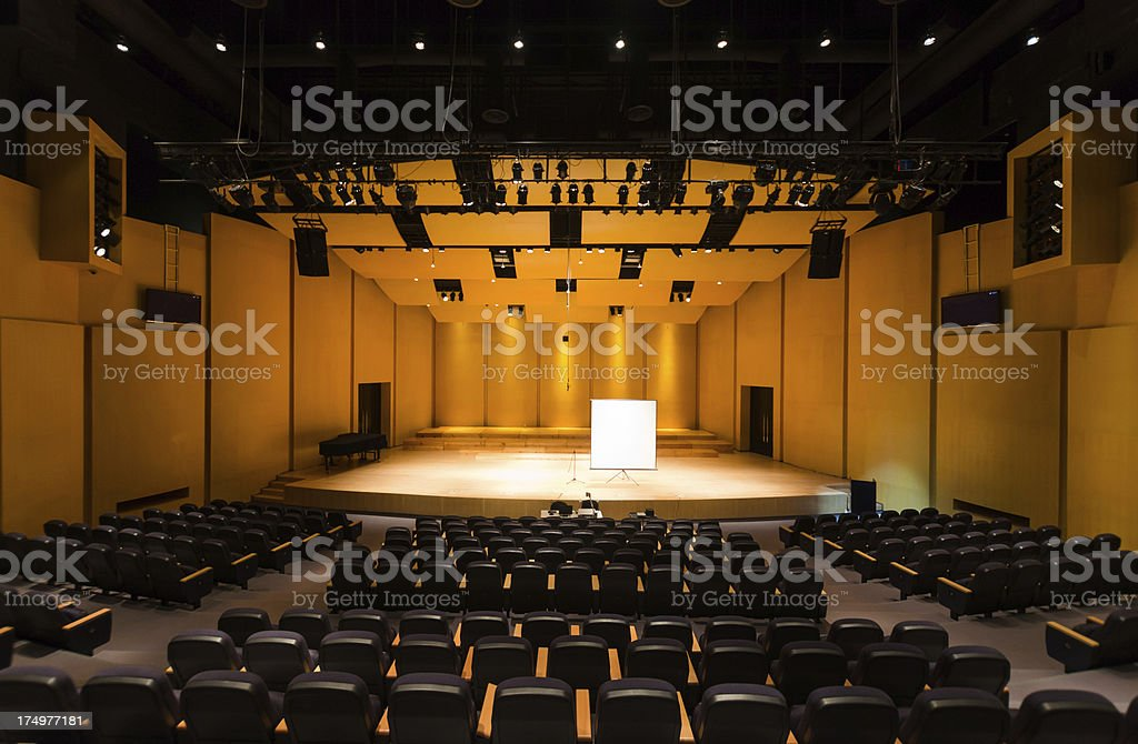 Seats in lecture theatre/conference hall stock photo