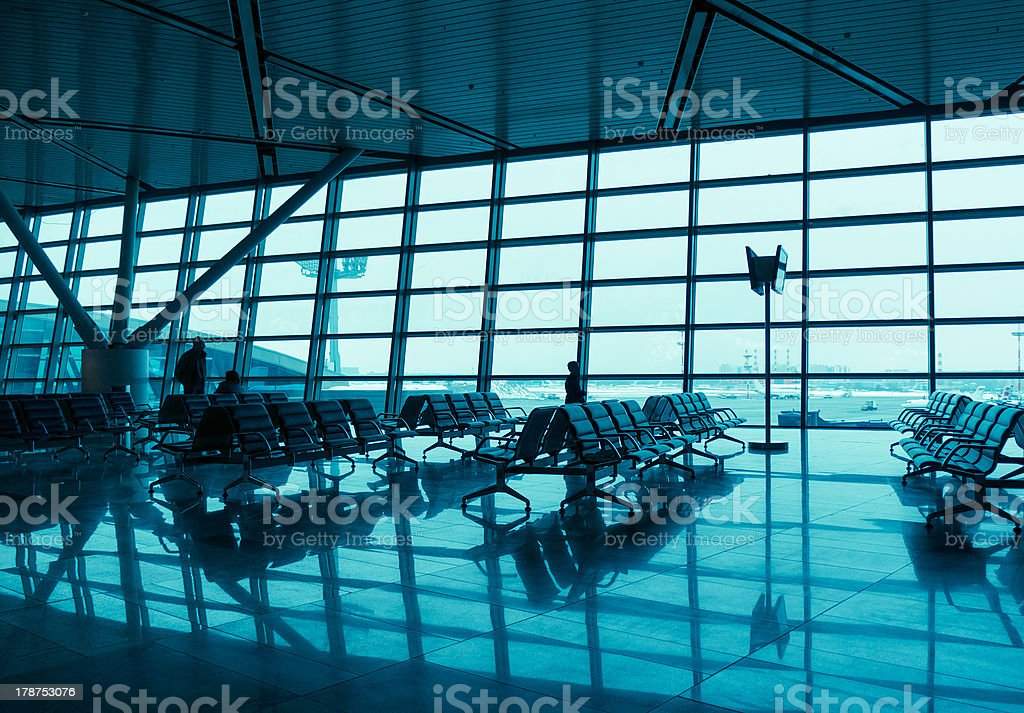 Seats in the airport stock photo
