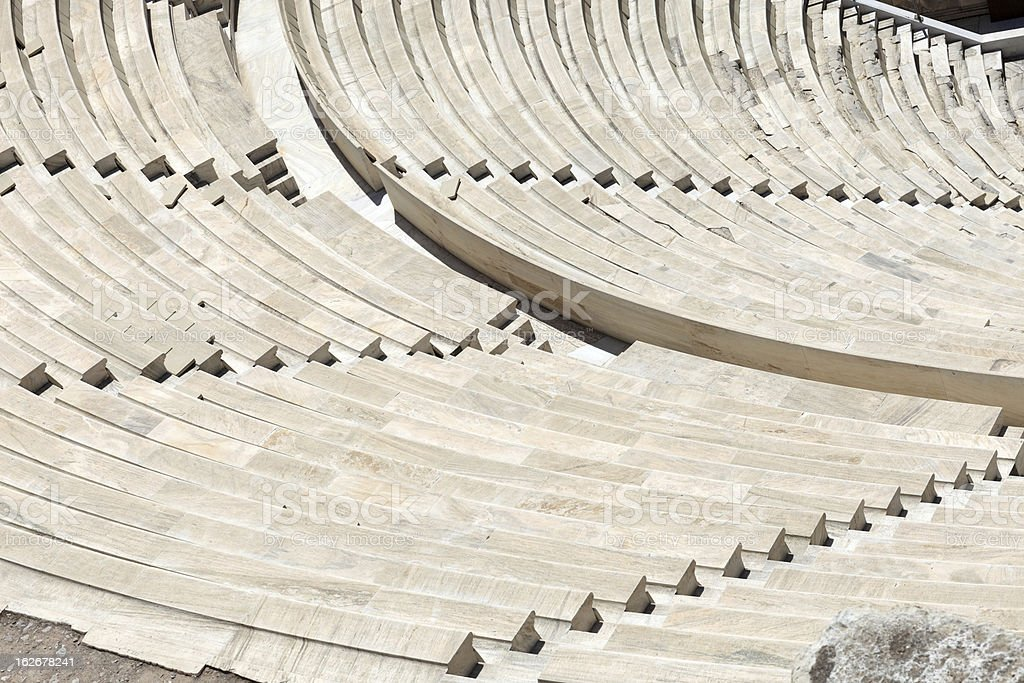 Seats of Odeon Herodes Atticus stock photo