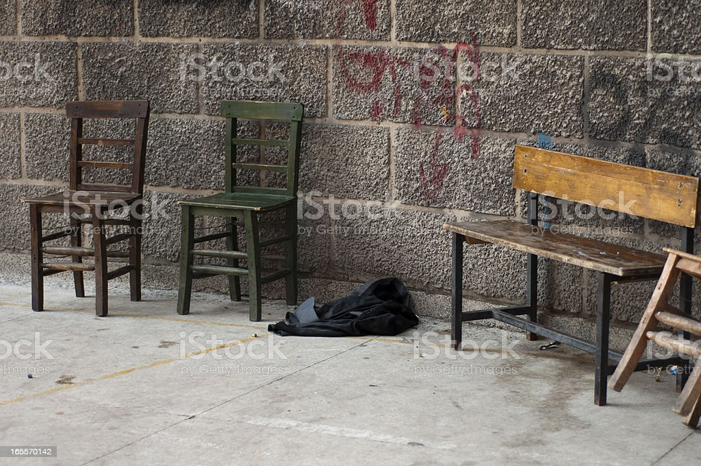 Seats on the street in Istanbul, Turkey royalty-free stock photo