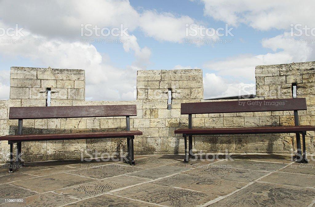 Seats on York City Walls stock photo