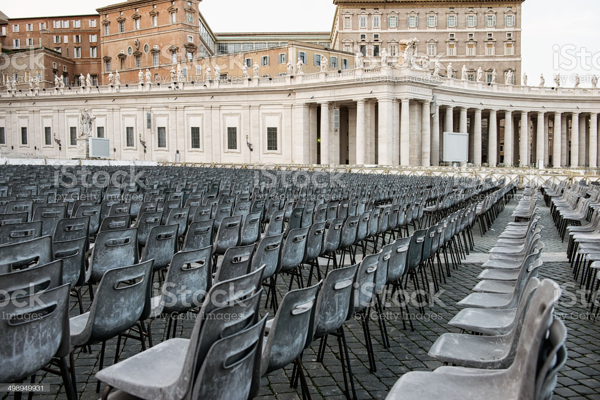 Seats ready for Pope's mass royalty-free stock photo