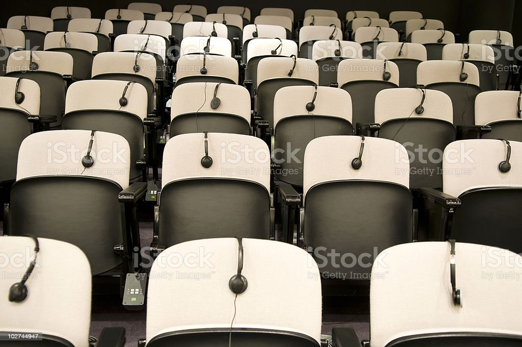Seats with Headphones for Visitors EU Brussels royalty-free stock photo