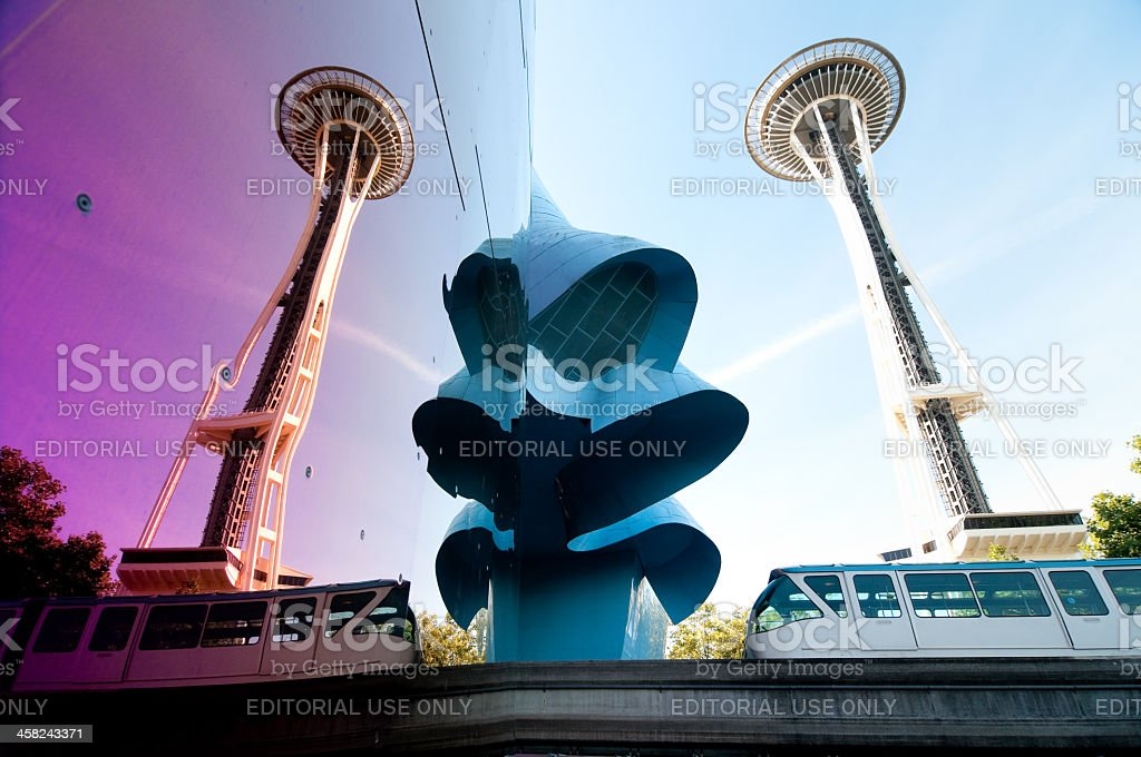 Seatte Monorail and Space Needle stock photo