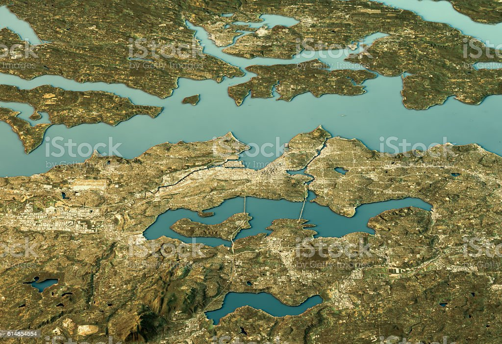 Seattle 3D Landscape View East-West Natural Color vector art illustration
