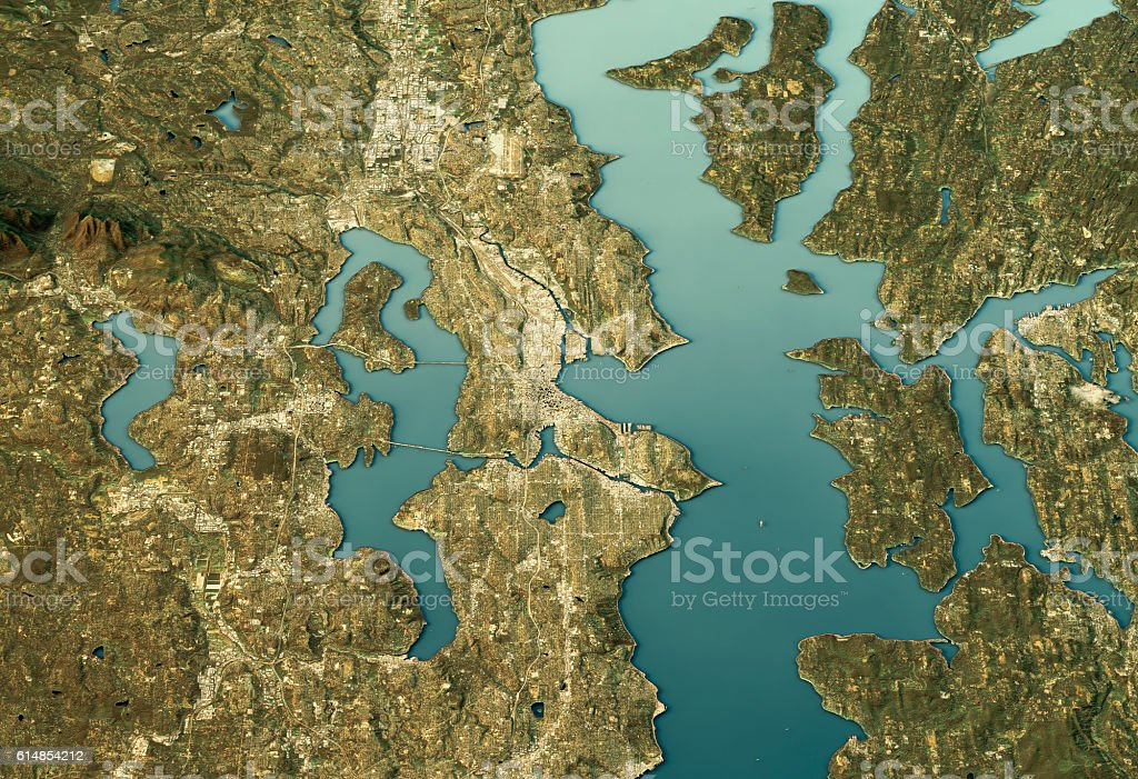 Seattle 3D Landscape View North-South Natural Color vector art illustration