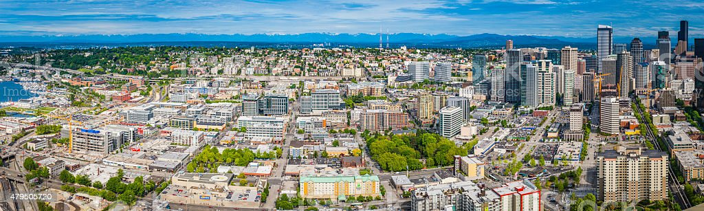 Seattle aerial cityscape panorama downtown skyscrapers Queen Anne Capitol Hill stock photo