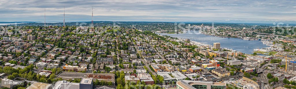 Seattle aerial panorama over Queen Anne Fremont Lake Union Washington stock photo