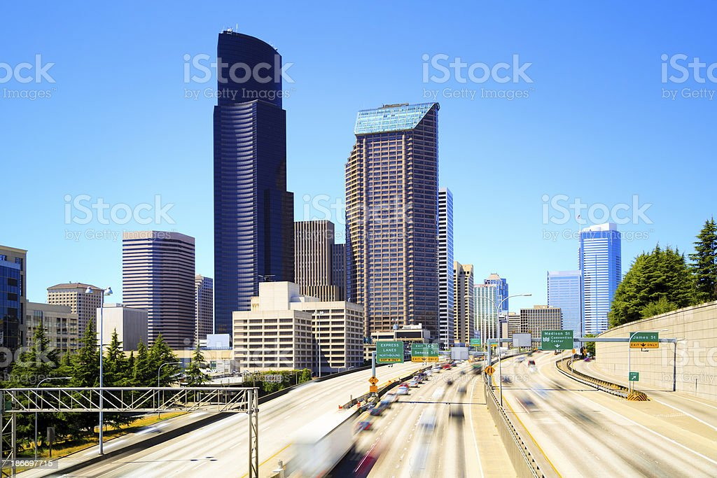 Seattle and I-5 royalty-free stock photo