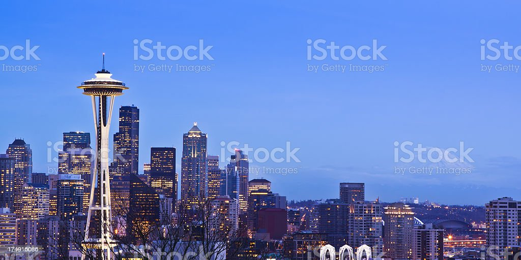 Seattle at dusk, Washington stock photo
