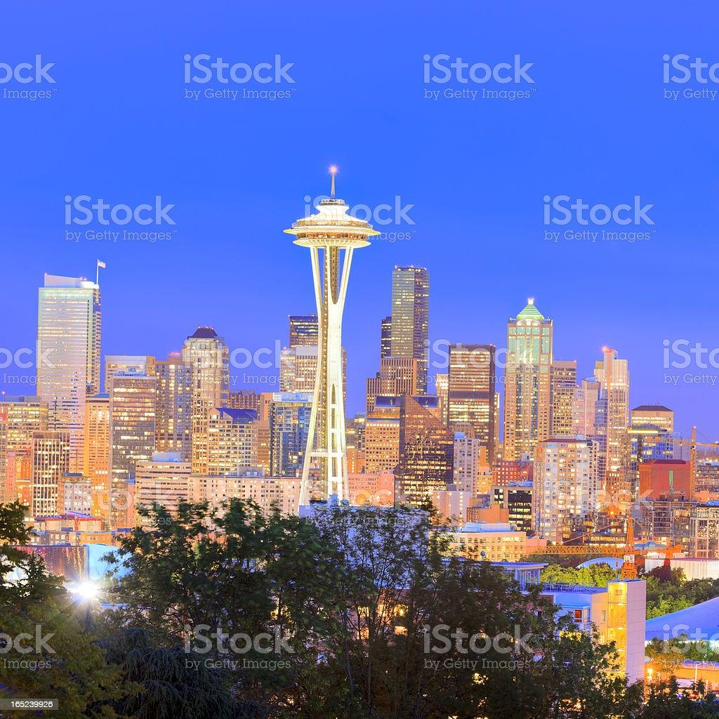 Seattle at night, Washington royalty-free stock photo
