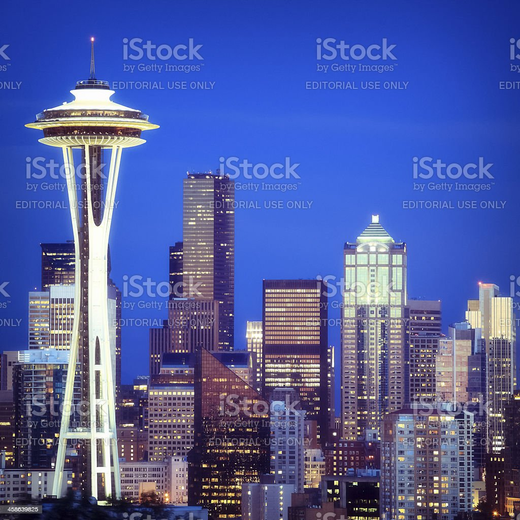 Seattle at night, Washington stock photo