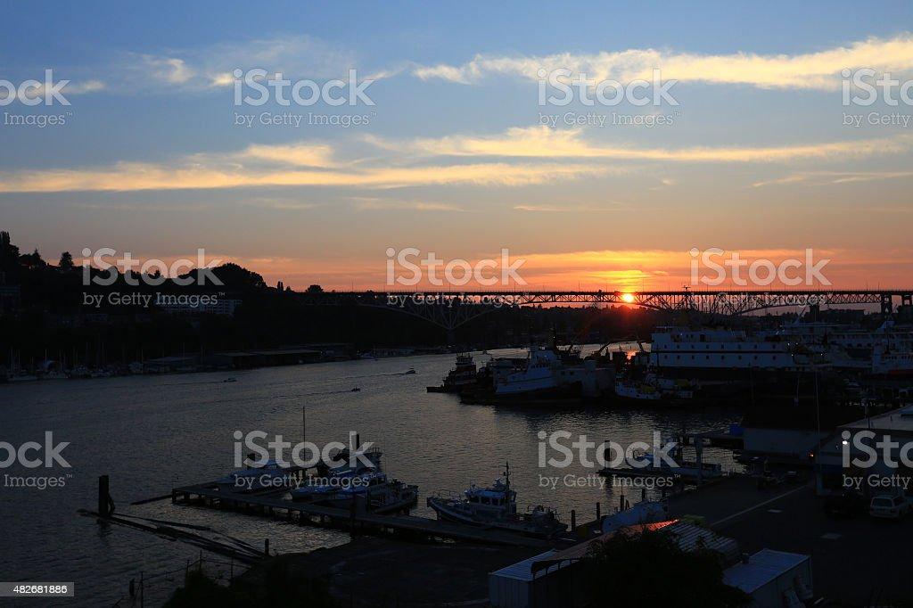 Seattle Aurora Bridge Sunset stock photo