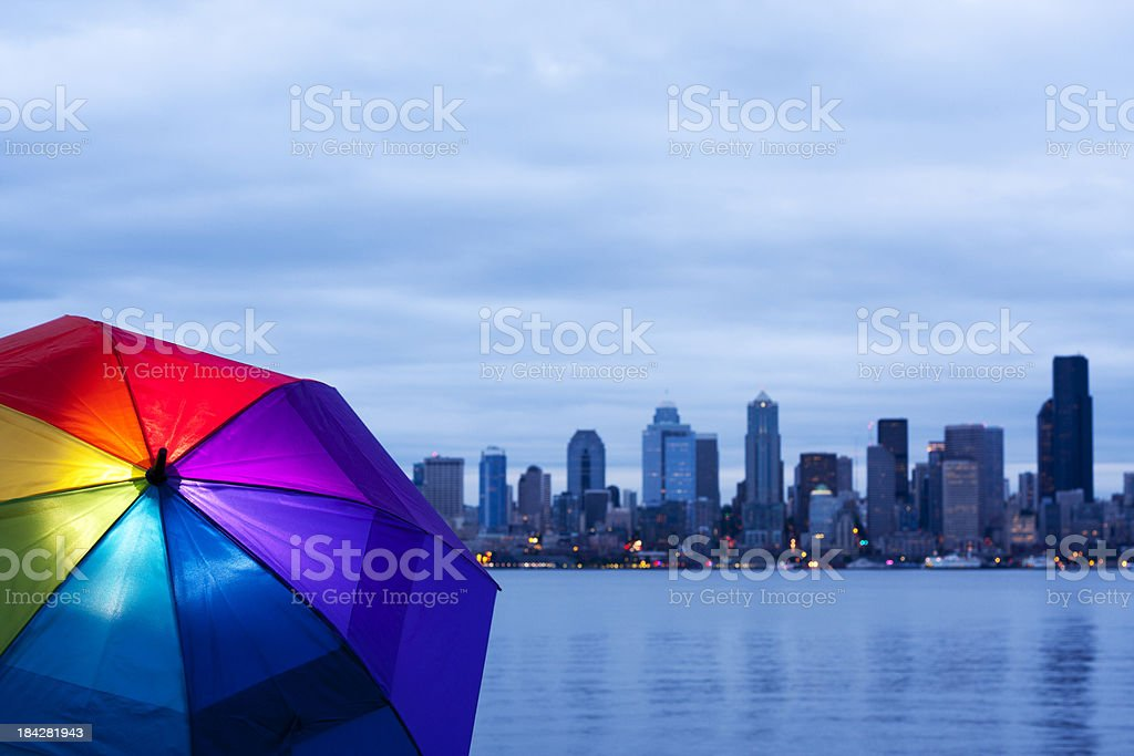Seattle Bright Umbrella stock photo