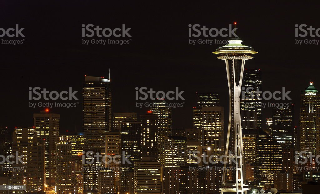 Seattle by night royalty-free stock photo