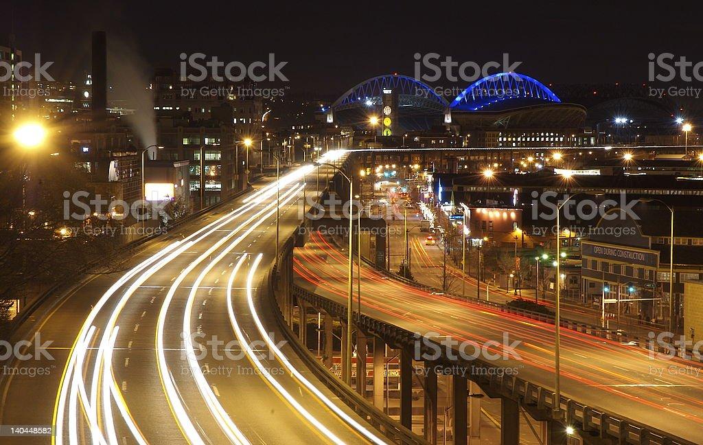 Seattle by night stock photo