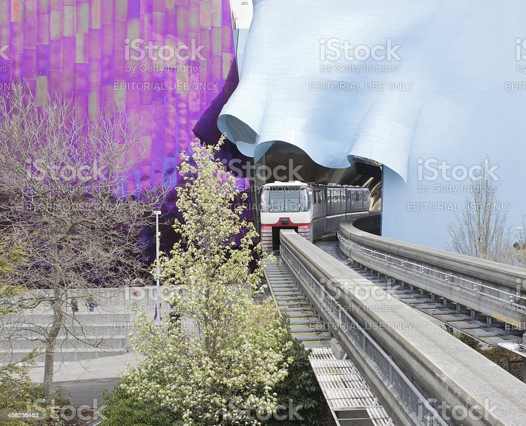 Seattle Center Monorail and EMP royalty-free stock photo