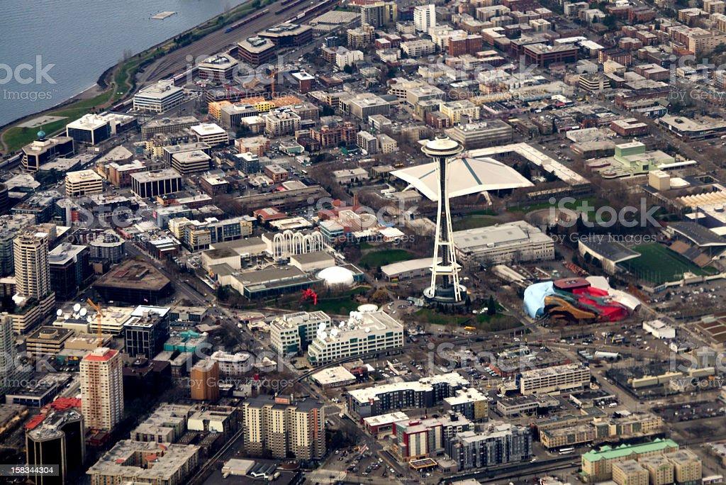 Seattle Center, Seatle, Washington aerial view royalty-free stock photo