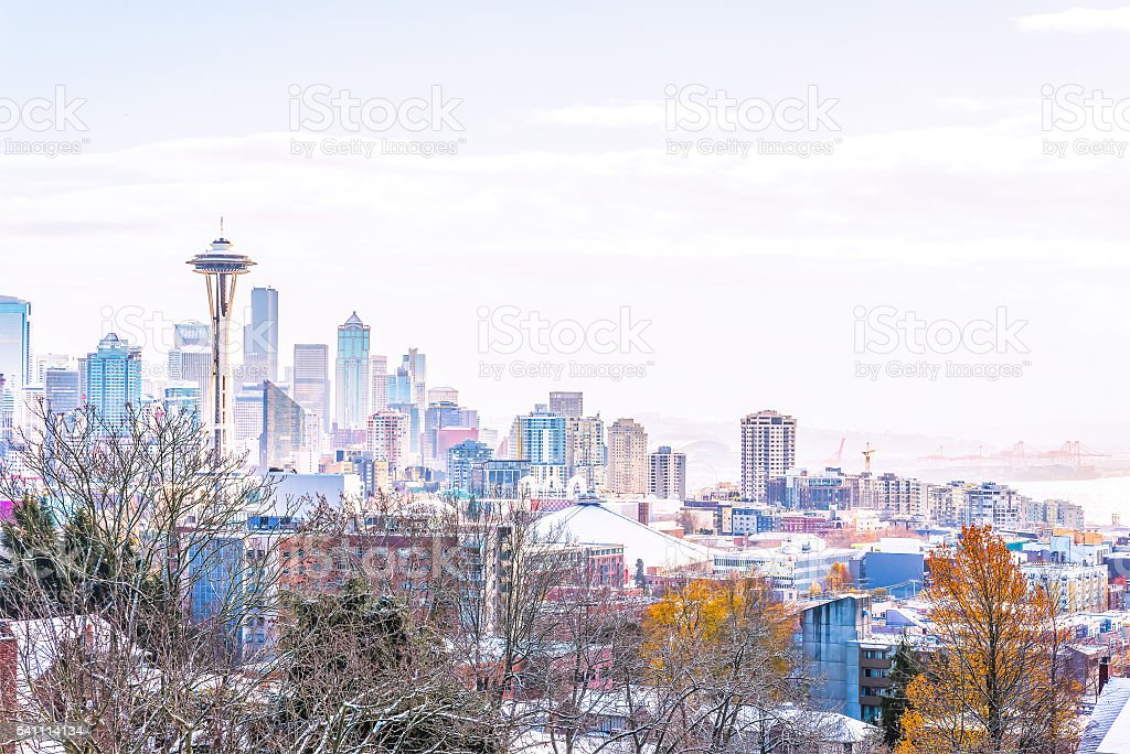 Seattle city scape with snow coverd. stock photo