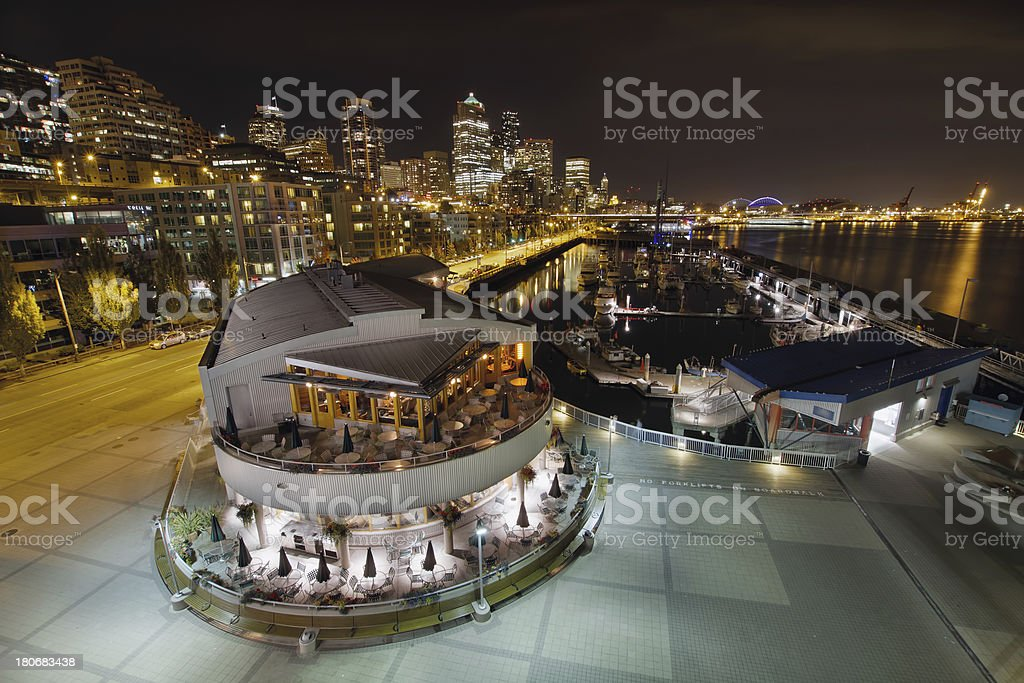Seattle City Skyline and Marina at Night royalty-free stock photo