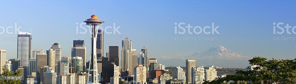 Seattle City Skyline and Mount Rainier USA royalty-free stock photo