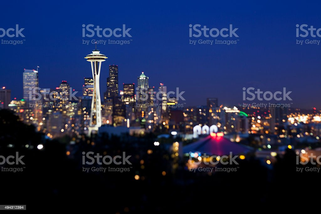 Seattle City Skyline at Night stock photo